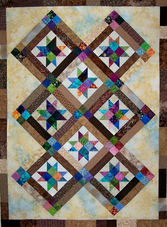 Star Quilt in Batiks...Quilt Top