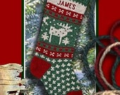 FOR 2017: Personalized Christmas Stocking MOOSE Knitted Stockings for a Family Christmas