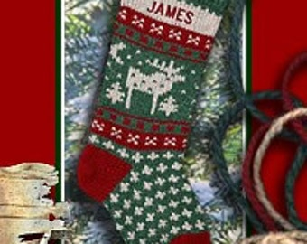 Personalized Christmas Stocking MOOSE Knitted Stockings for a Family Christmas