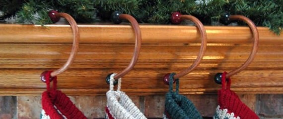 Wooden Christmas Stocking Hangers - FOREST GREEN