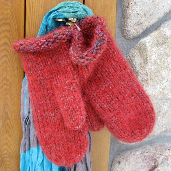 Women's Hand Knit Mohair Mittens - Southwest Desert