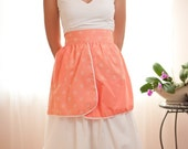 Vintage Salmon Pink Half Apron with White Flocked Daisies