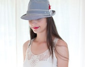 Vintage blue and White Striped Fedora Hat with a Red Feather