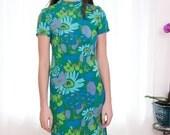 Vintage 1960s Mod Floral Dress - S