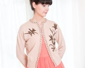 1950s Beaded Cardigan Sweater - Vintage 50s Neutral Tan Pure Lambs Wool Sweater - M / L