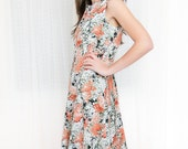 Vintage Floral Dress in Black and Coral - XL