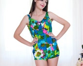 Vintage 1950s Swimsuit - 50s Swimsuit - Bright and Bold Floral Bombshell by Jantzen - L