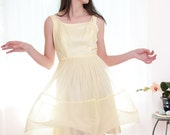 Vintage 1960s Dress - Miss Sunshine 2 Piece Yellow Chiffon Cocktail dress - XS / S