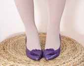 Vintage 1980s Purple Leather Pumps - High Heel Shoes with Suede Ruffle - 7 US