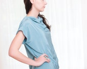 Reserved ----- Vintage 1980s Seafoam Green Blouse with Draped Cowl Neckline - L