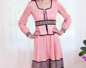 sale - Vintage 1970s Dress - Gretel Bohemian Folk Dress in Pink and black - S