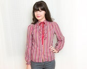 Vintage 1970s Ruffle Blouse - Western Red Check - S / M