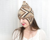 Vintage Ear Flap Beanie - Tribal Winter Wool Knit Cap