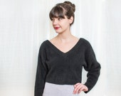 Vintage 1980s Oversized Half Top - Slouchy Black Angora Sweater