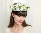 Vintage 1950s Hat - Spring Love - Floral Headpiece with White Flowers