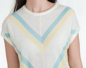 Sale - Vintage 1980s Knit Shirt - 80s Pastel Chevron Striped Shirt in Blue and Yellow