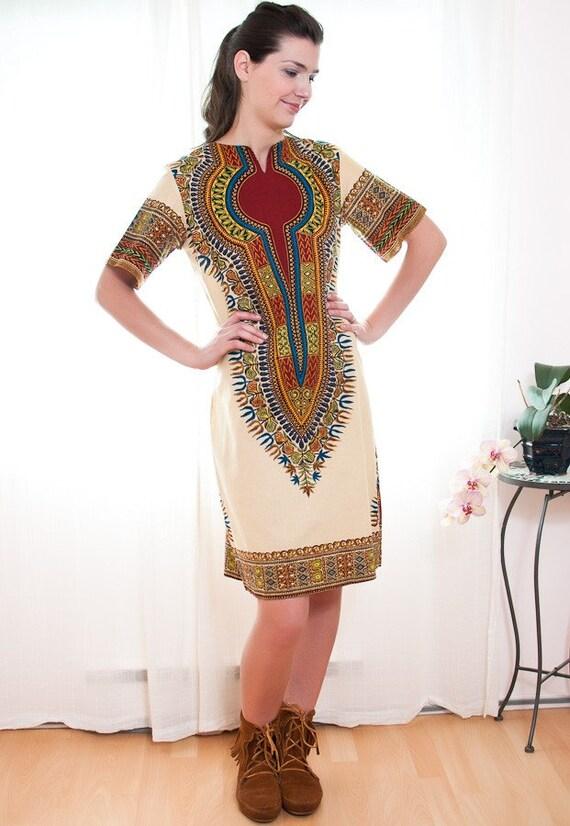 Vintage 1970s Dashiki Tunic Dress - M