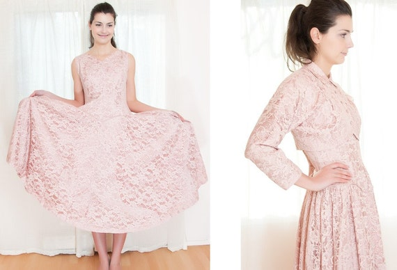 Vintage 1950s Dress -  50s Dress - Pink Lace Party Dress and Jacket Set - M