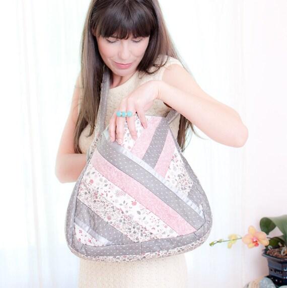 Pink and Grey Calico Quilted Messenger Bag - Vintage 1970s Bag