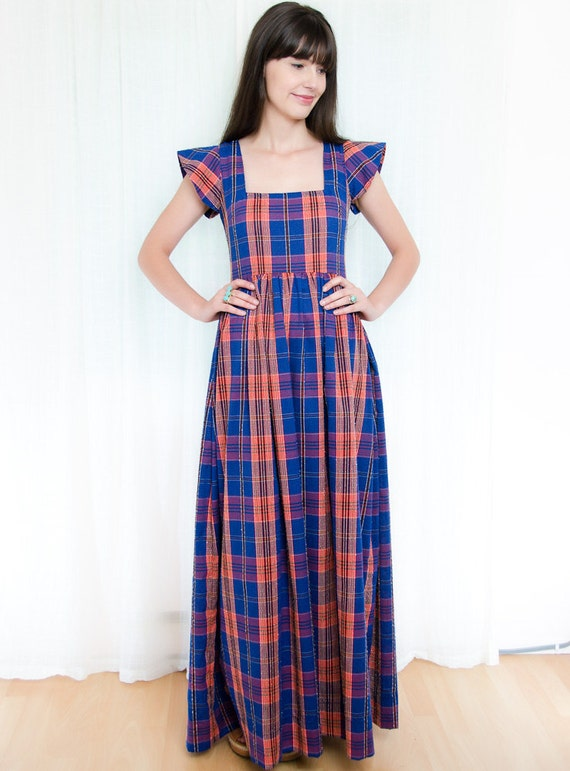 1970s Maxi Dress - Vintage 70s Plaid Dress in Blue and Orange - S tall
