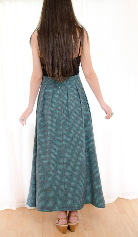 Wool Maxi Skirt - Vintage Gray and Turquoise Skirt with Check Pattern - M / L