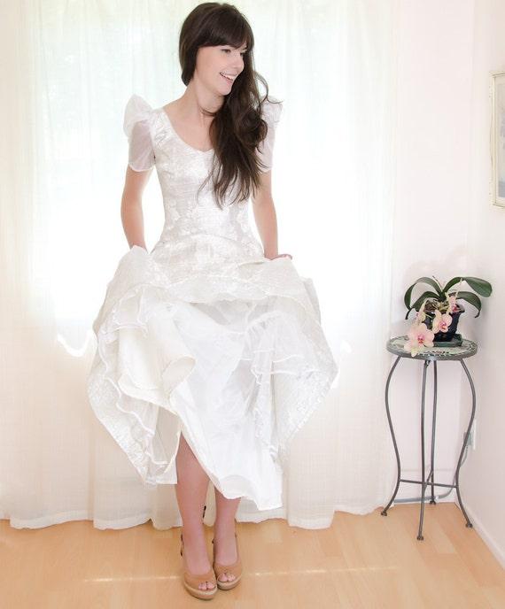 Vintage 1980s Glinda Dress - Formal Wedding Party Gown - S