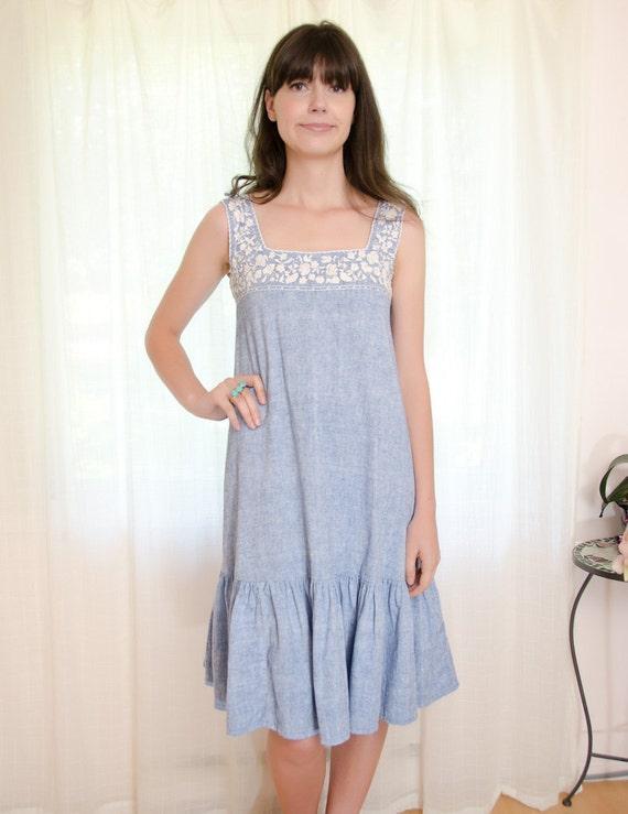 Vintage 1970s Boho Dress - Ethnic Embroidered in Light Denim Blue - S