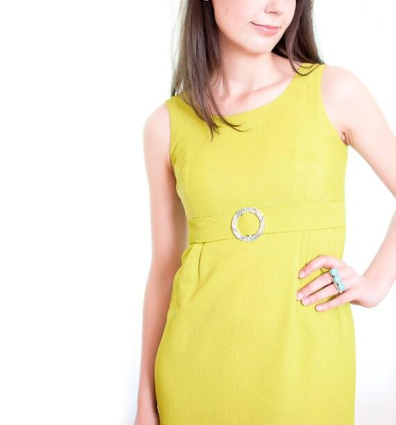 1960s Summer Dress - Vintage 60s Chartreuse Green Long Evening Dress - S