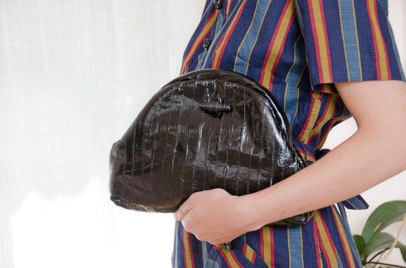 Black Leather Purse - Vintage Metal Frame Eel Skin Clutch with Optional Shoulder Strap