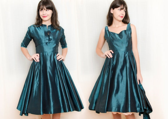 Vintage 1950s Dress with Bolero Jacket - 50s Dress - Iridescent Beetle Green Dress - S / M