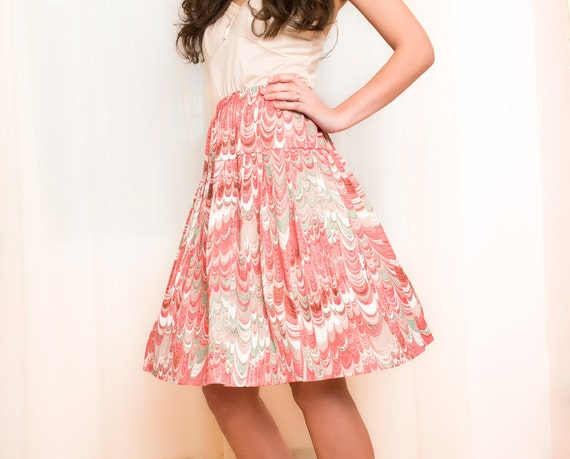 Vintage 1960s Skirt - Dripping Pink Marble Print - S / M