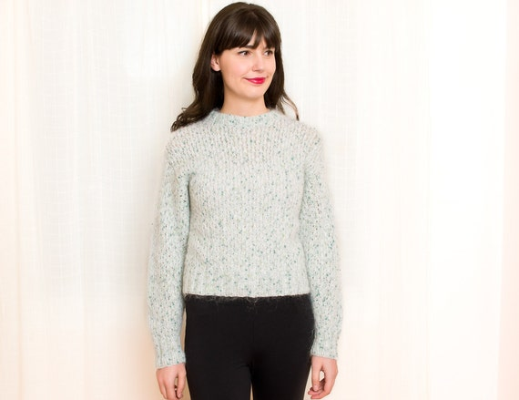 Knitted Mohair Sweater - Vintage Hand Knitted Speckled Winter Mint Green Sweater - Wool Sweater