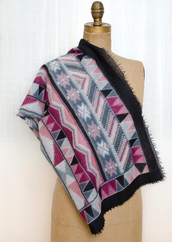Vintage Graphic Purple Scarf - Lightweight Wool Scarf with Southwestern Design