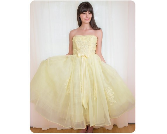Vintage 1950s Dress - 50s Yellow Chiffon Dress - Party Prom Dress - S