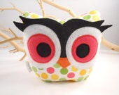 owl  bookend / doorstop / paperweight plush bellamina's owl designer fabric