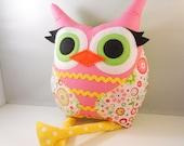 Handmade  Owl Pillow Plush Stuffed Toy flower girl by bellamina Christmas gift
