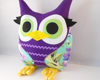 Handmade Owl Pillow Plush Stuffed Toy Christmas gift