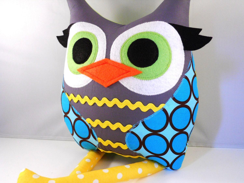 Handmade Owl Pillow Plush Stuffed Toy By Karensagez On Etsy