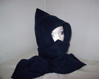 Hood Scarf DOUBLE FLEECE Unisex Hooded Short Scarf - Foulard Chapeau - Dark Brown, Navy Blue, Black, Brun, Bleu, Noir