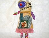 Folk Art Doll Milly the grungy Hippie Monster Doll Reserved for Mary