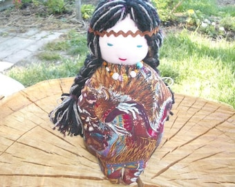 Goddess Doll-White Bead Woman- Changing Woman-Native American - Waldorf -Fabric Doll