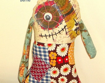 Fabric Monster Doll Bertie Vintage and Retro Fabric Softie