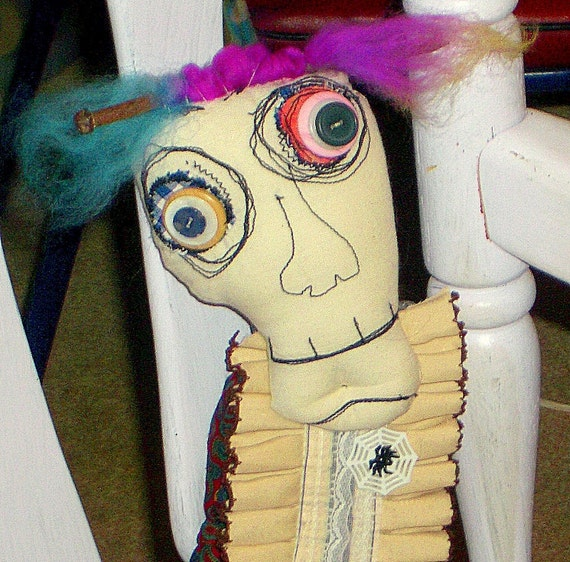 Fabric Monster  Doll  Spooky Art Doll   Wendall the Blind  Prom Date
