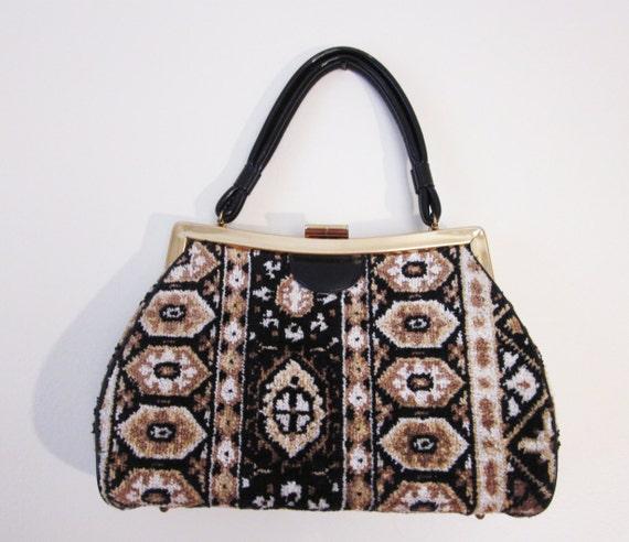 SALE 1960s Tapestry Carpet Rug Geometric Grandma Purse