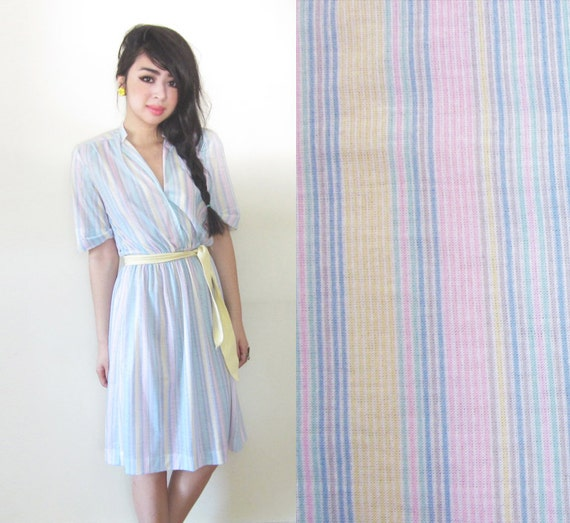 1950s Pastel Striped Cotton Day Dress Pink Yellow Blue XS S M