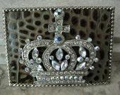 Leather Belt Buckle with Swarovski Crystal Crown