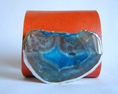 leather cuff bracelet - tangerine leather with teal agate slice - size 3