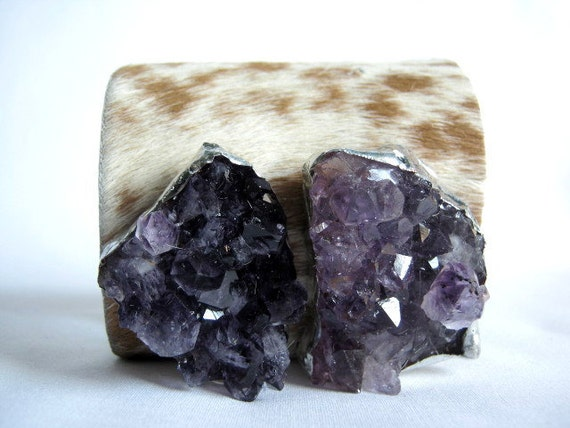 leather cuff  - spotted hair on hide with amethyst geode duo size 2