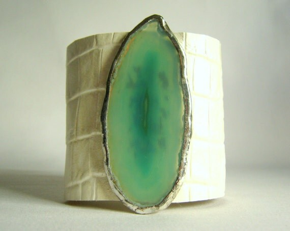 reserved for Renae - leather cuff bracelet -  white alligator embossed with agate size 2