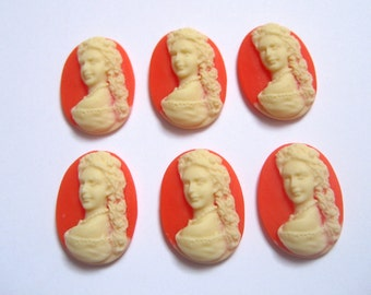 New Item 6 pieces 18x13mm Long Haired Victorian Lady Cameo